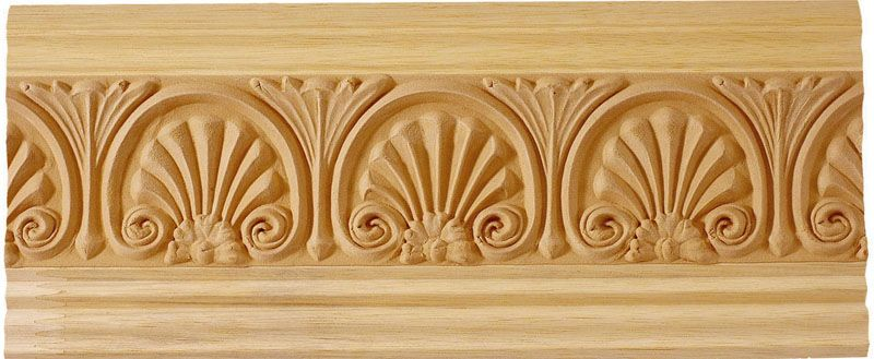 Clearwater Wood Crown Molding With Floral Shell Design Wood Crown Molding Wood Molding Crown Molding