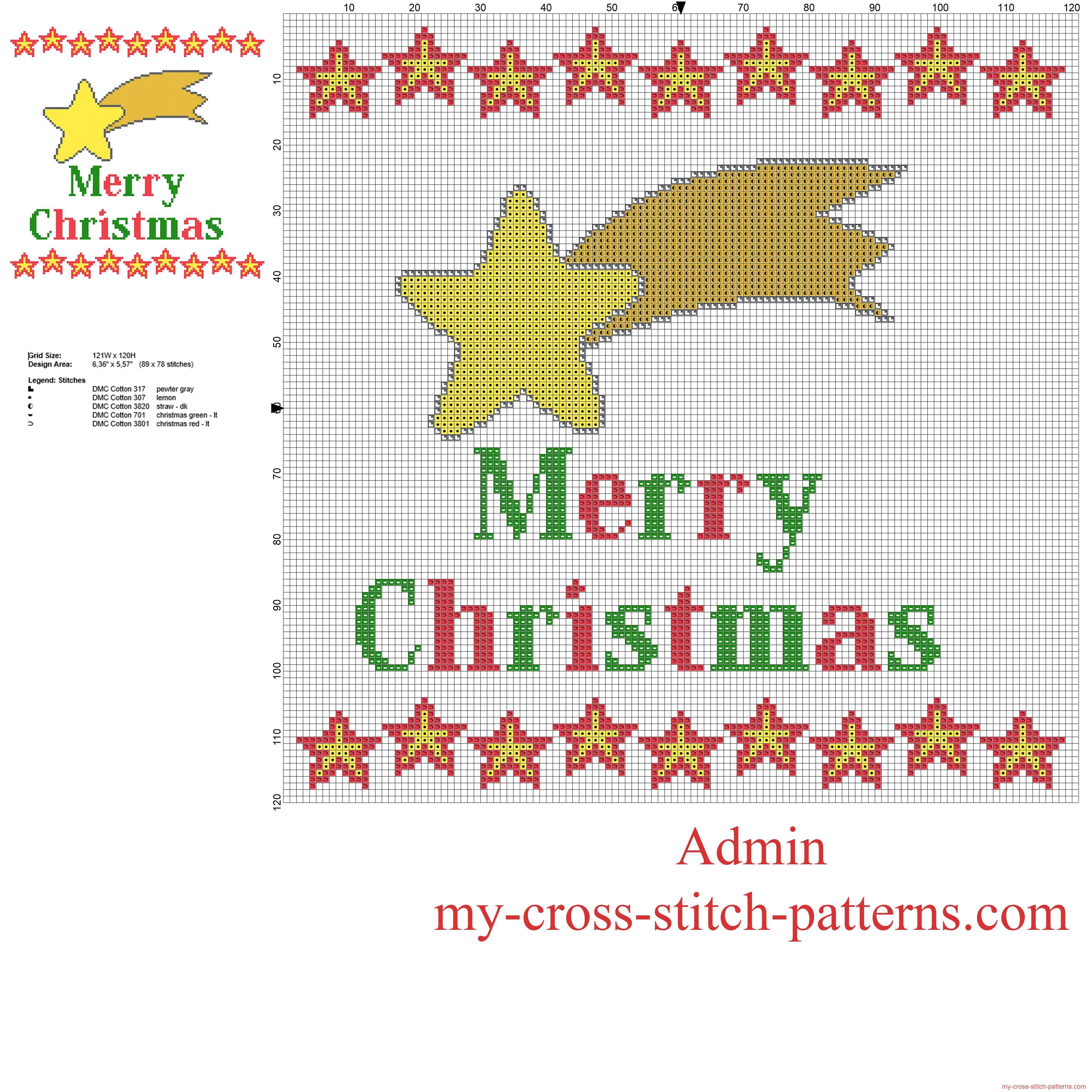 Stella Cometa e testo Buon Natale schema punto croce gratis | Punto ...