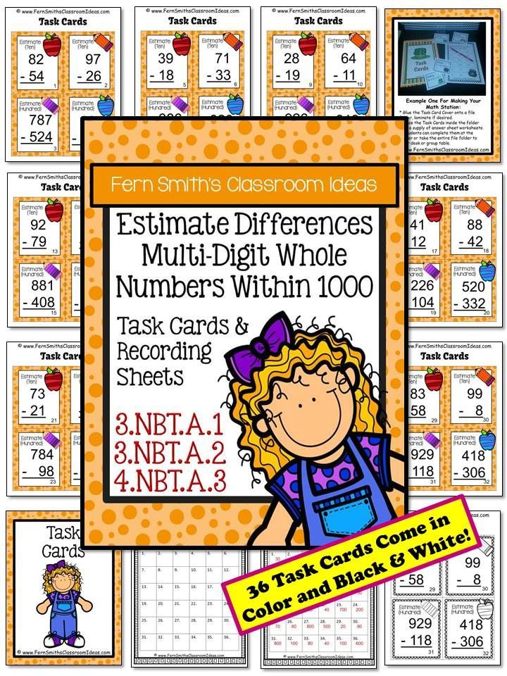 3rd Grade Go Math 18 Rounding to Estimate Differences Task Cards - estimate sheet