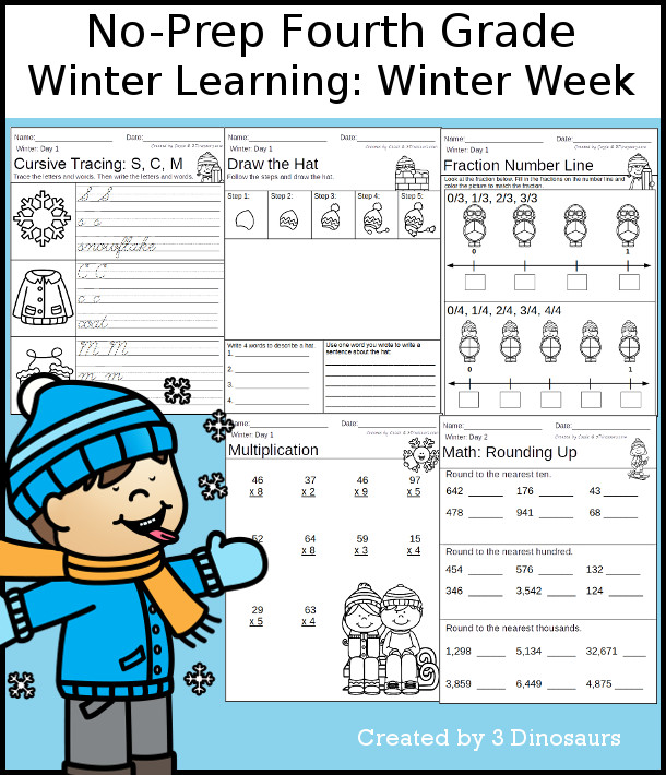 Winter Weekly No Prep Packs For Prek To 4th Grade 3 Dinosaurs Fourth Grade Winter Kindergarten Teachers Pay Teachers Kindergarten