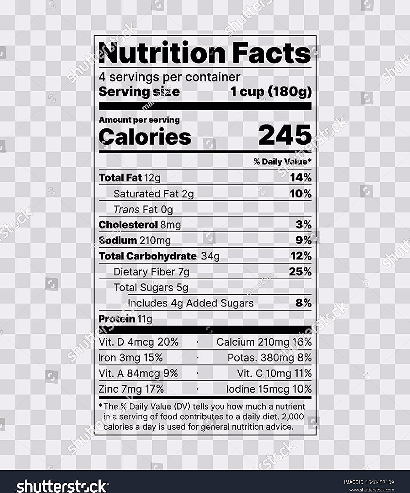 Nutrition Facts Label Food Information With Daily Value