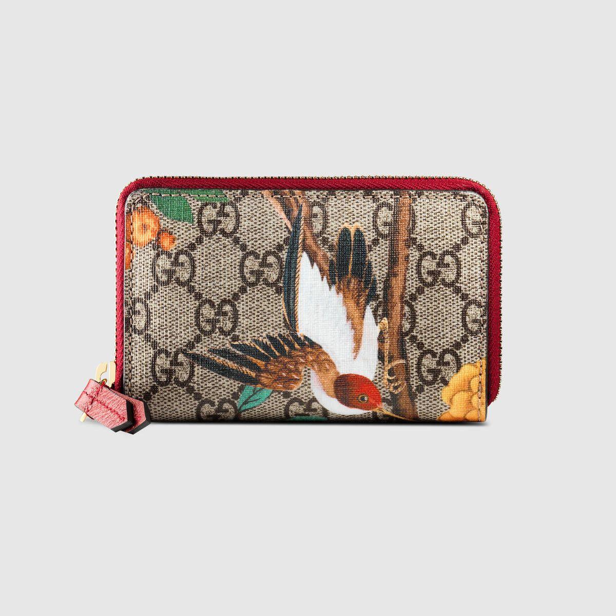 Gucci tian gg supreme card case wallet gucci womens