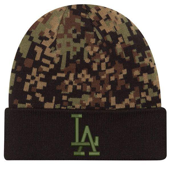 Los Angeles Dodgers New Era Print Play Knit Hat - Camo/Black