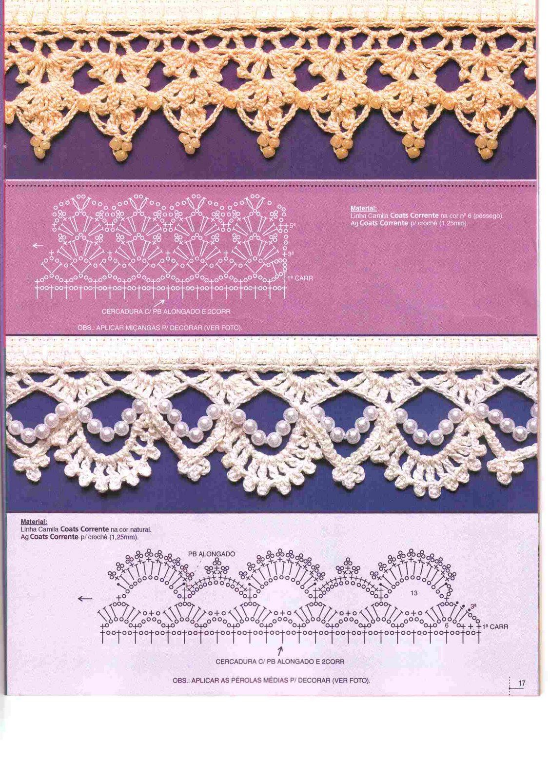 Charts for crochet edgings with bead accents no instructions hel veel mooie randjes crochet lace edging with pearls pattern bankloansurffo Image collections