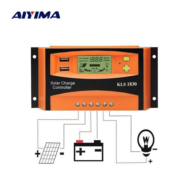 Aiyima Pwm 12v 24v 30a Solar Controller Lcd Function Dual Usb 5vdc Output Solar Cells Panels Battery Charge Reg Best Solar Panels Solar Technology Solar Energy