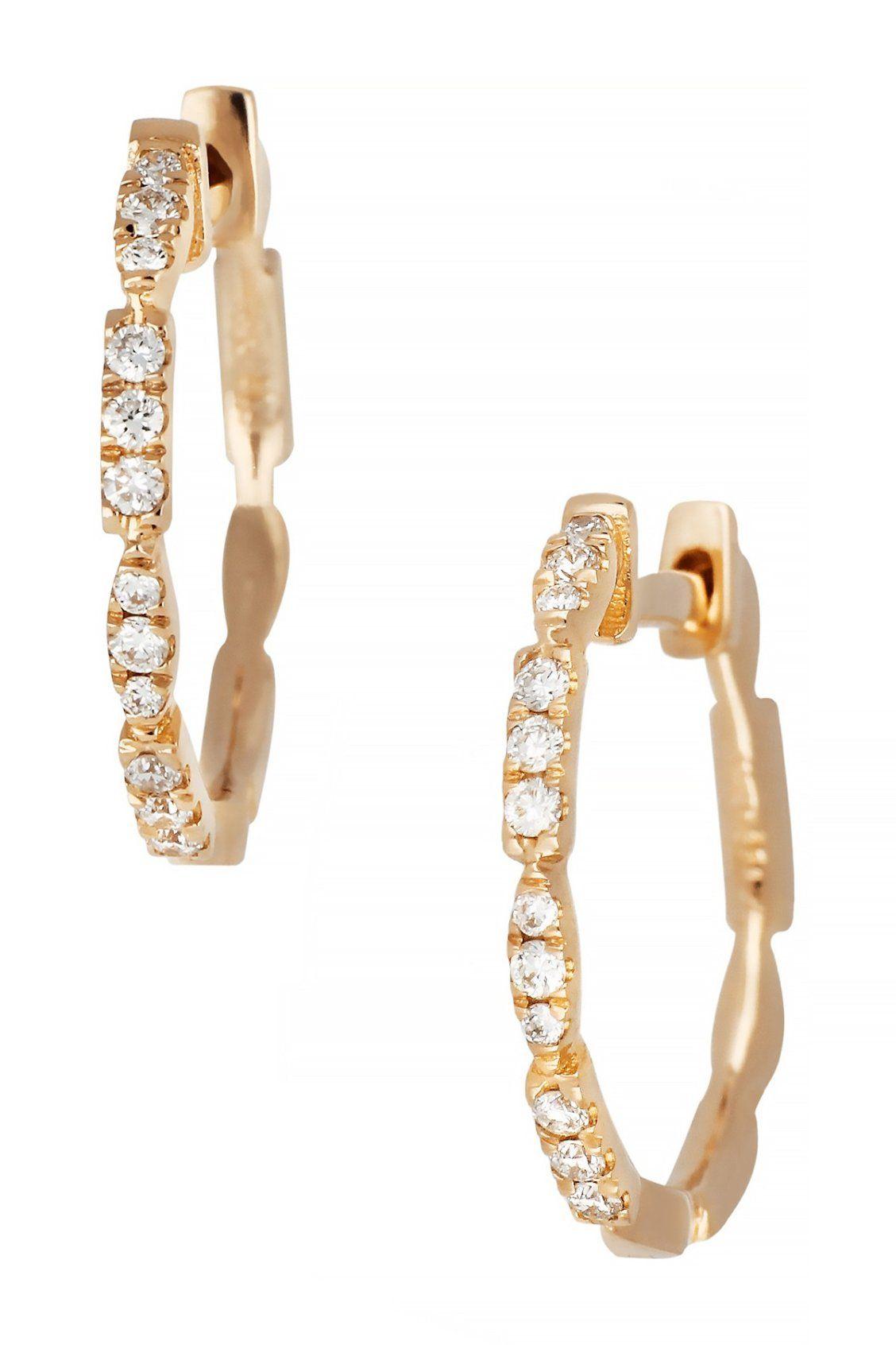 fd6495049b9a6f Bony Levy 18K Rose Gold Diamond 15mm Hoop Earrings | Gems & Jewels ...