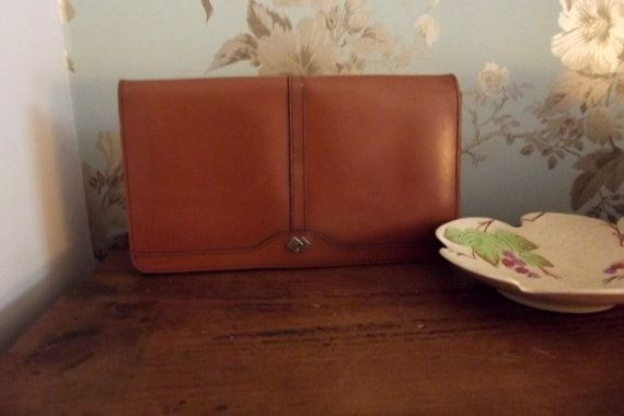 womens vintage  leather clutch bag , 80s.