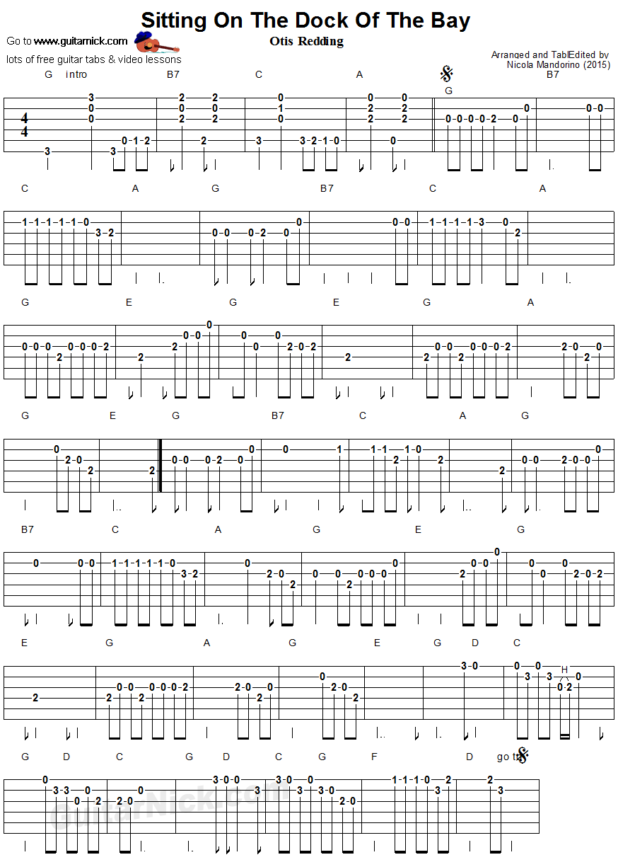 Sitting On The Dock Of The Bay Easy Guitar Tablature Guitar