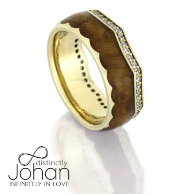 Diamond Eternity Wedding Band, Teak Wood Crown Ring With Yellow Gold-DJ1014YG