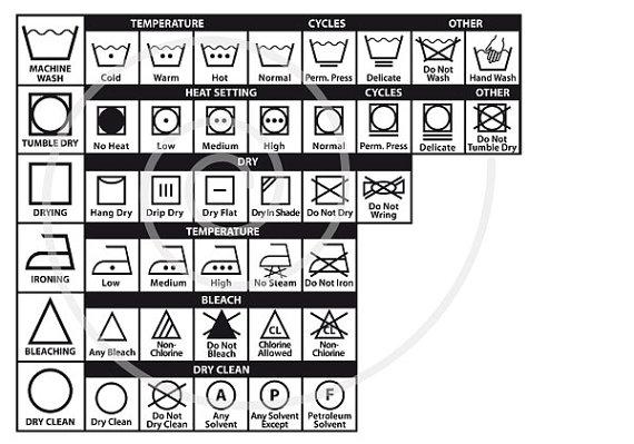 Textile care symbols, 54 laundry icons, washing guide