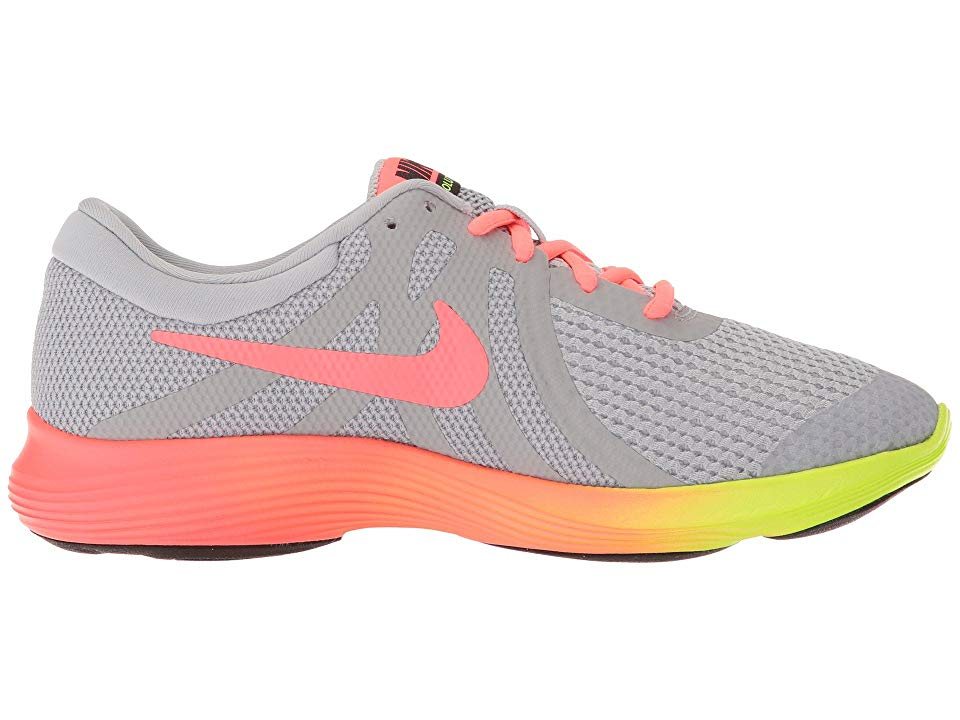 a0b8cfd20f63d9 Nike Kids Revolution 4 Fade (Big Kid) Girls Shoes Wolf Grey Hot  Punch Volt Black