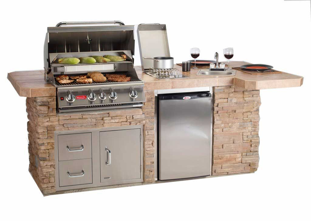 Portable outdoor grill island with awesome features like for Outdoor kitchen refrigerators built in
