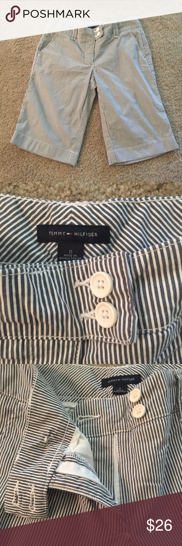 Tommy Hilfiger Striped Bermuda Shorts Blue and white striped Bermuda shorts. Excellent condition. Tommy Hilfiger Shorts Bermudas