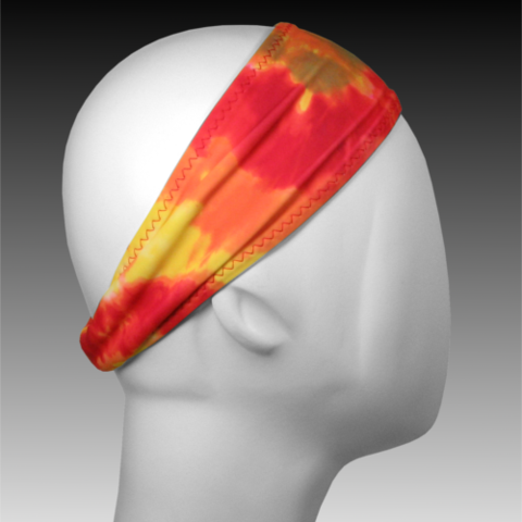 Bamboo-Lined Sweatband from Ponya Bands in Tie Dye Fire | Our sweatbands don't slip, and truly absorb and wick sweat! | Athletic headband sweatband | ponyabands.com