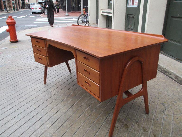 Svend Madsen Teak Desk With Bookshelf In Back Mid Century Modern