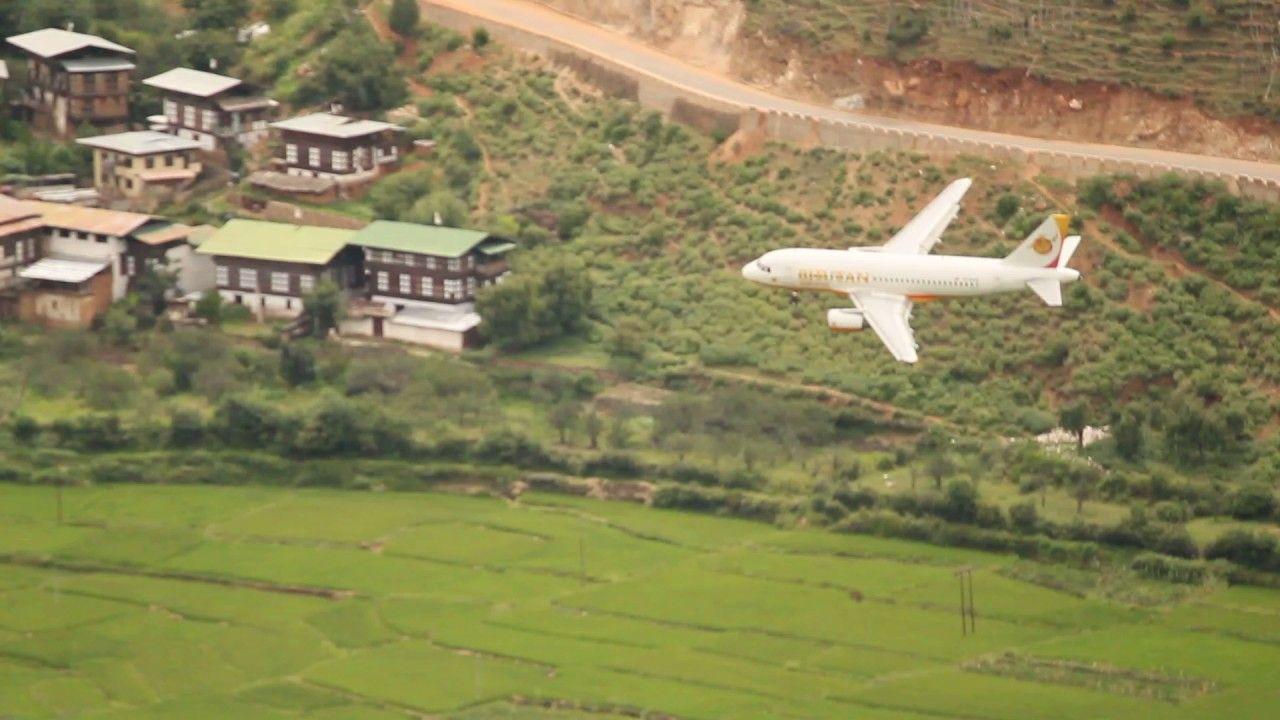 Bhutan Airlines Landing At Paro International Airport Paros International Airport Bhutan