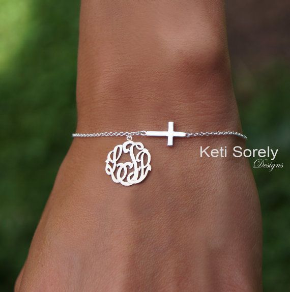 Sideways Cross Bracelet Or Anklet With Monogram Charm In 10k 14k Or 18k Gold Or Sterling Silver Yellow Rose Or White Gold Monogram Jewelry Monogram Bracelet Diamond Cross Necklaces