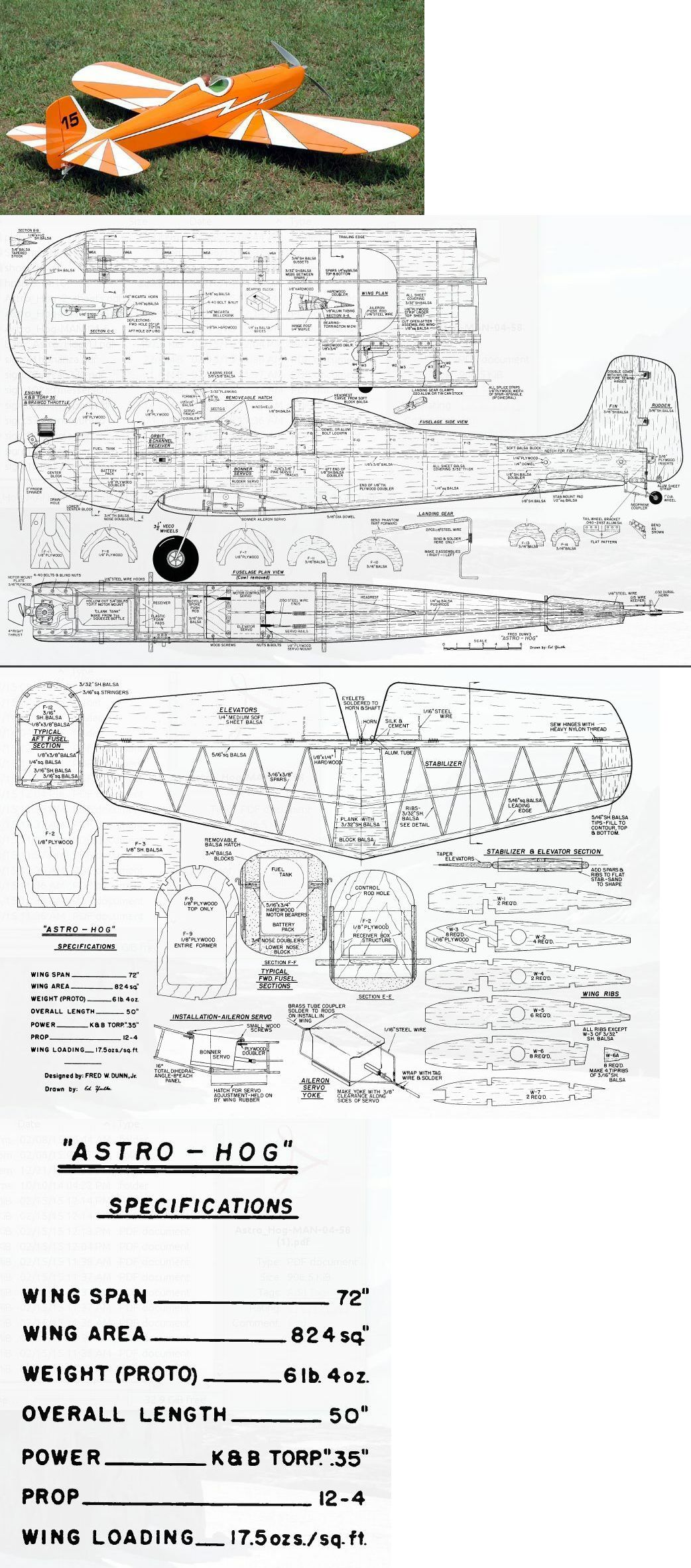 RC Plans Templates and Manuals 182212: Astro Hog 72 Inch