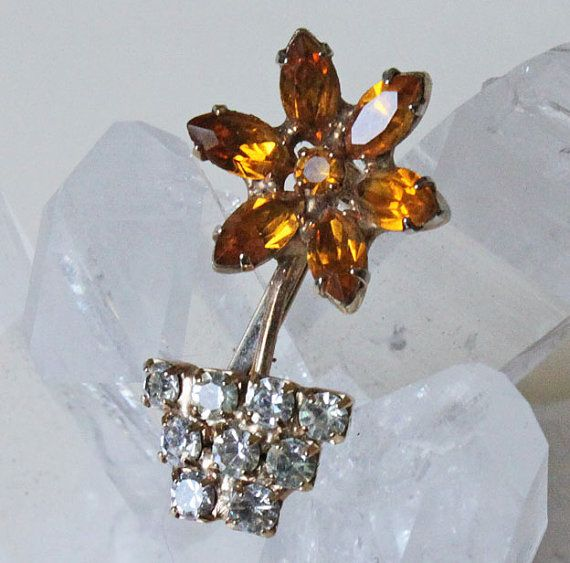 Mini Potted Flower Vintage Rhinestone Brooch by SpruceCove on Etsy, $9.00