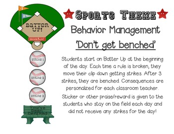 Sports Theme Behavior Management Chart For Your Little Sluggers Don T Get Benched Many Behavior Management Chart Behavior Management Sports Theme Classroom