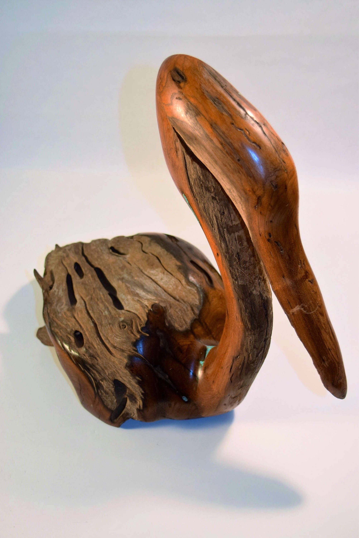 Wooden Pelican Wood Carving Home Decor Driftwood Art Sculpture