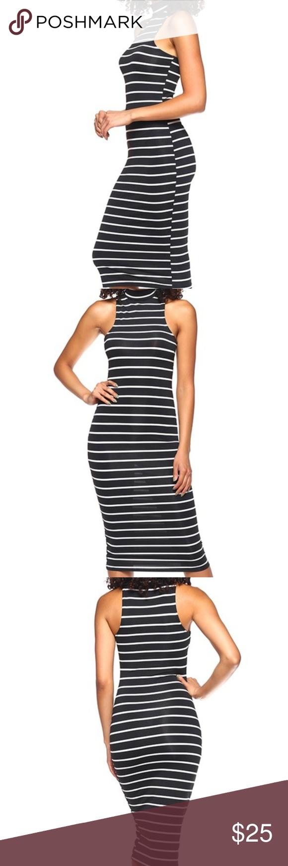 Bodycon Dress Black White Stripe Midi Posh Dresses Striped Bodycon Midi Dress Dresses [ 1740 x 580 Pixel ]