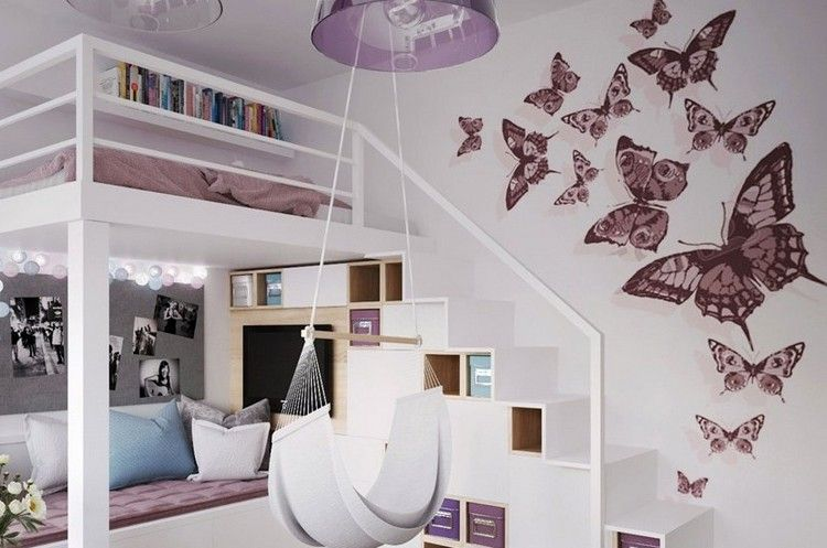 d co murale chambre enfant papier peint stickers peinture stickers papillon lits. Black Bedroom Furniture Sets. Home Design Ideas