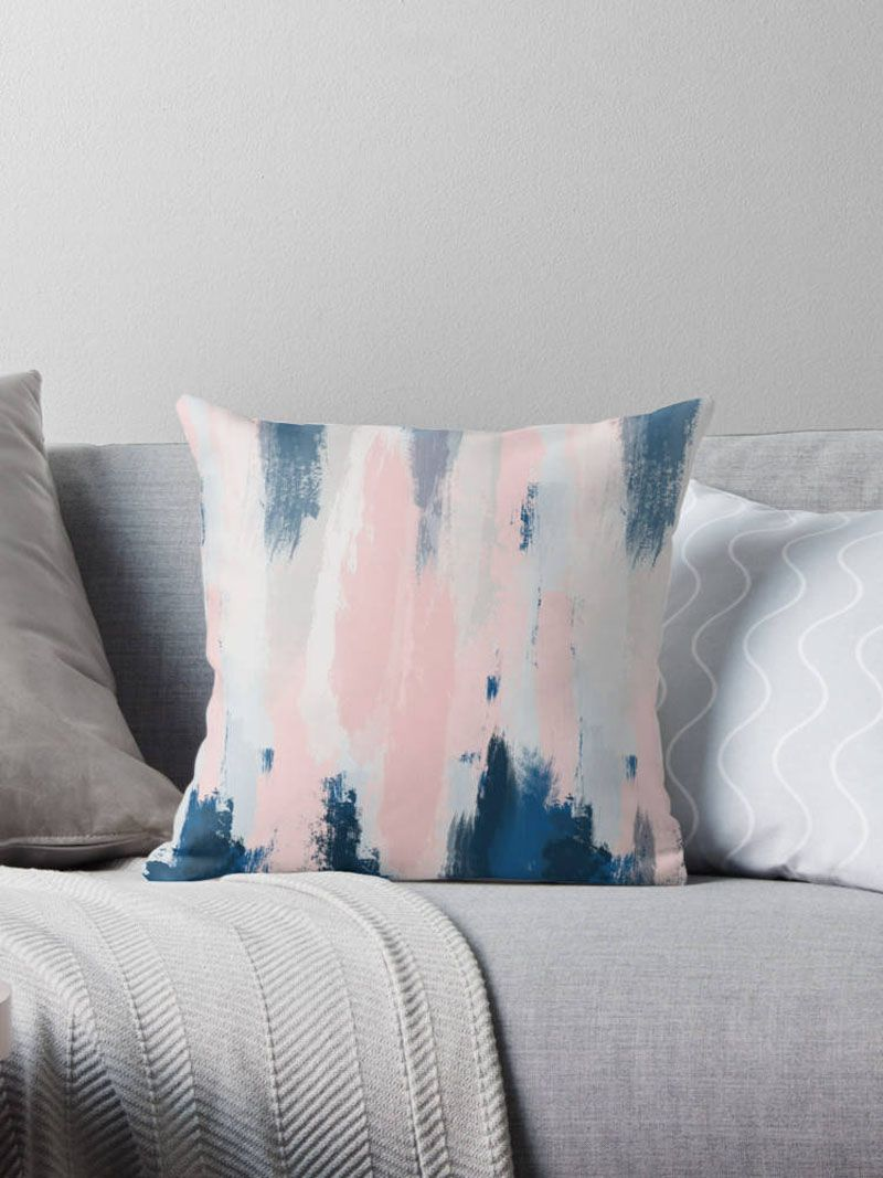 Freshen Up Your Home Decor With Blush Pink Accents Blue Throw Pillows Blue And Pink Living Room Blue And Pink Bedroom