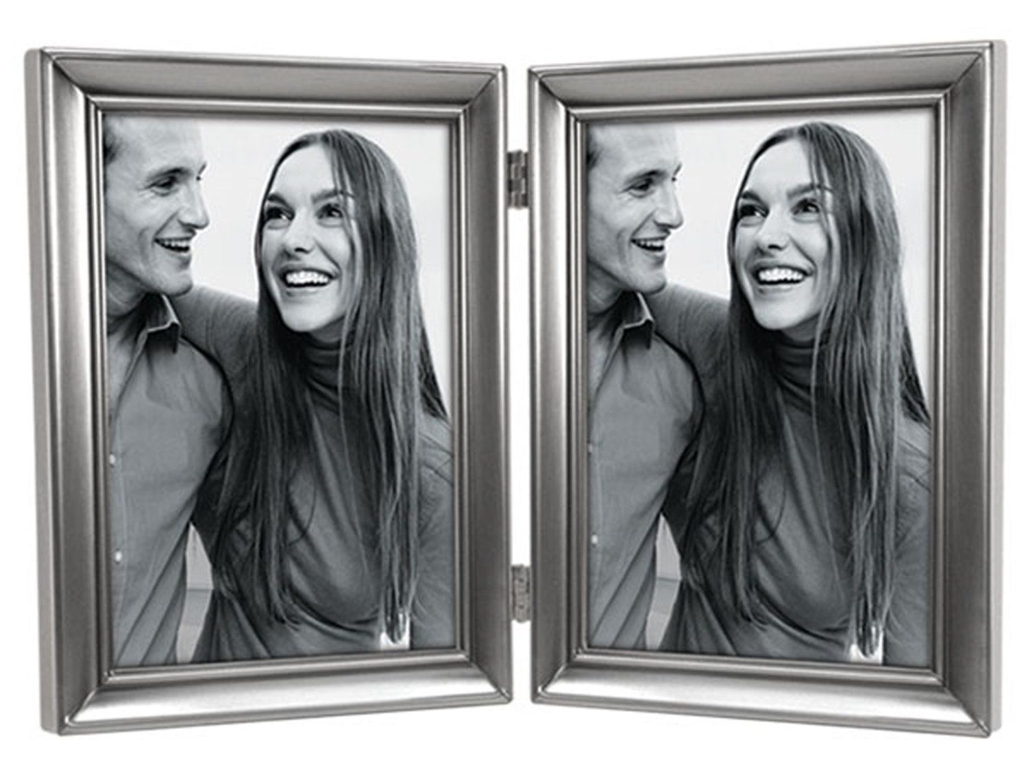 "Amazon.com - Malden International Designs Concourse Pewter Metal 2-Vertical 5 x 7"" Picture Frame -"