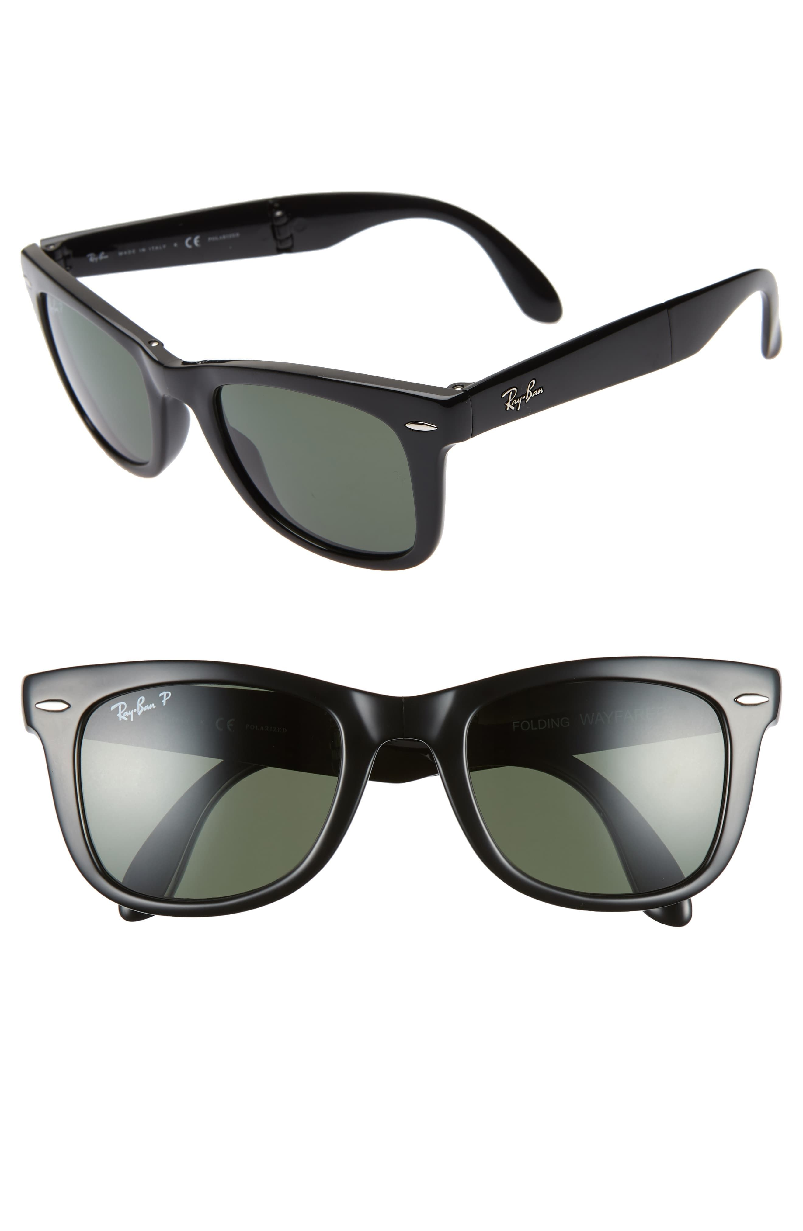 b0e47b32f Women's Ray-Ban 50Mm Wayfarer Polarized Folding Sunglasses - Black/ Green  Solid