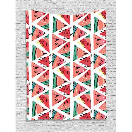Watercolor Tapestry, Abstract Watermelon Pattern in Triangles ...