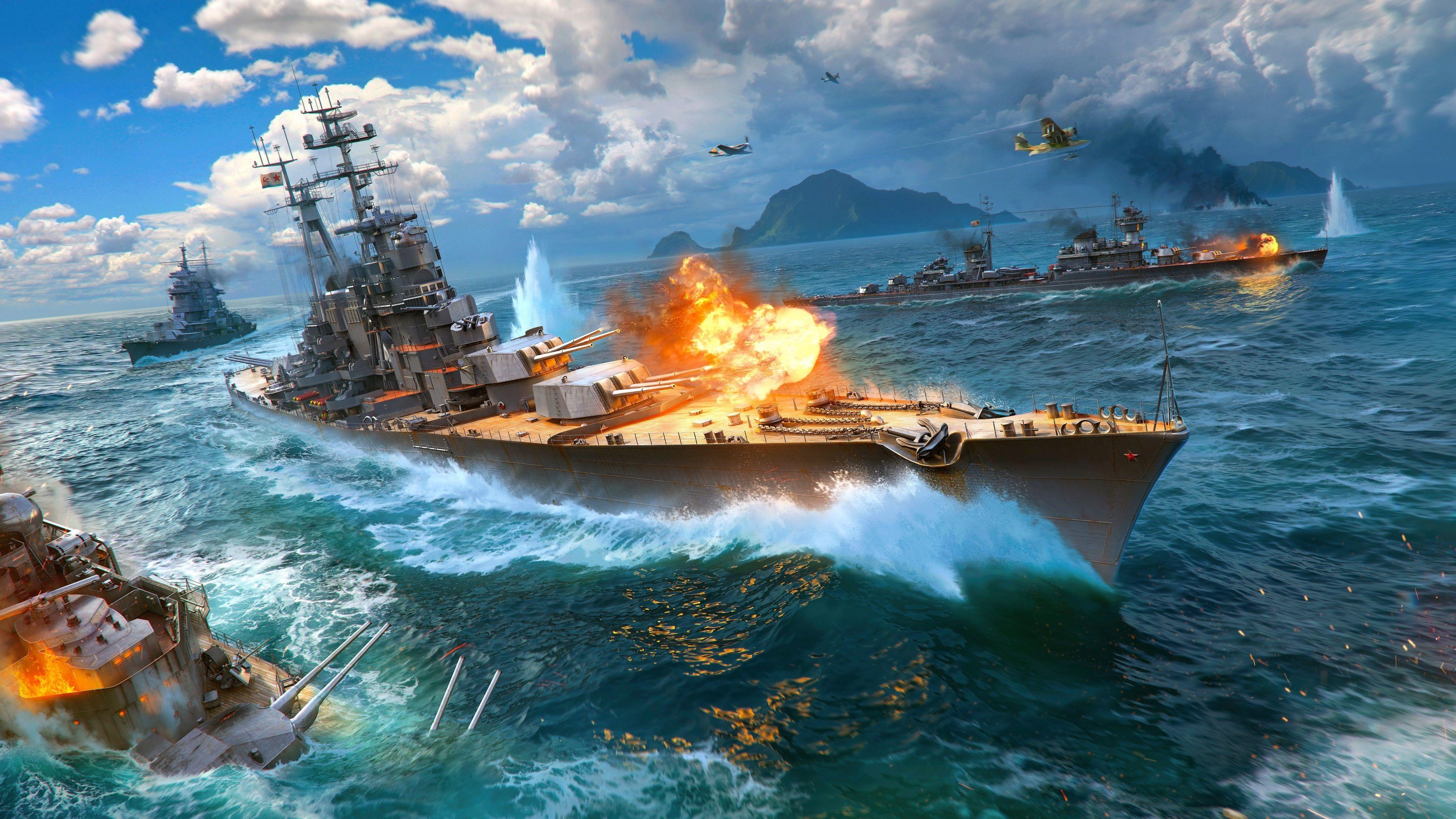 World Of Warships Battle 4k Ultra Hd Wallpaper World Of Warships Wallpaper Warship Warship Battle