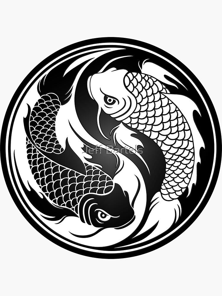 Black And White Yin Yang Koi Fish Sticker By Jeff Bartels Yin Yang Koi Yin Yang Art Yin Yang Fish