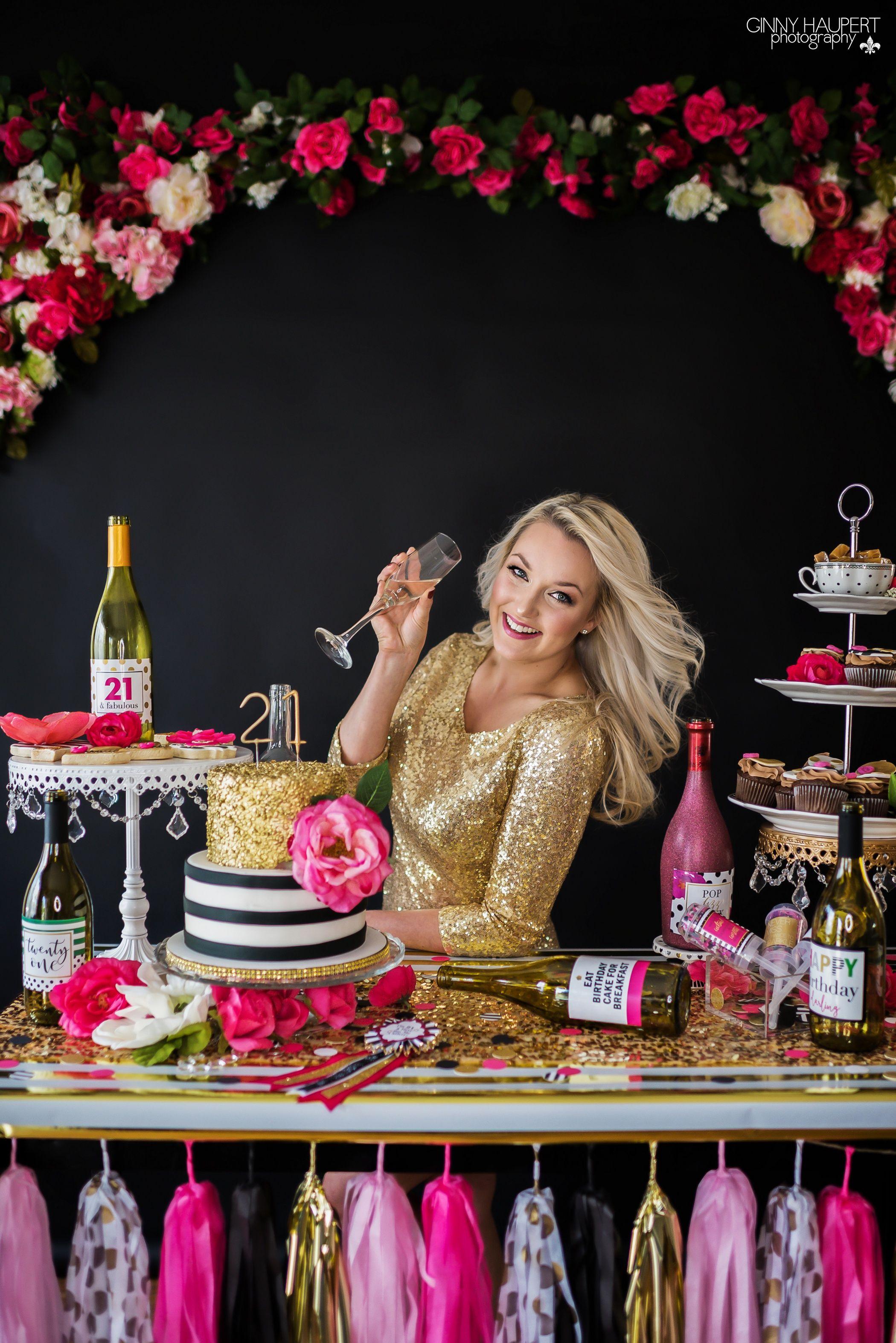 Adult Cake Smash Photoshoot Dirty 30 21st Birthday Denver Photographer Kate Spade Gold Pink Black Party Decor Backdrop