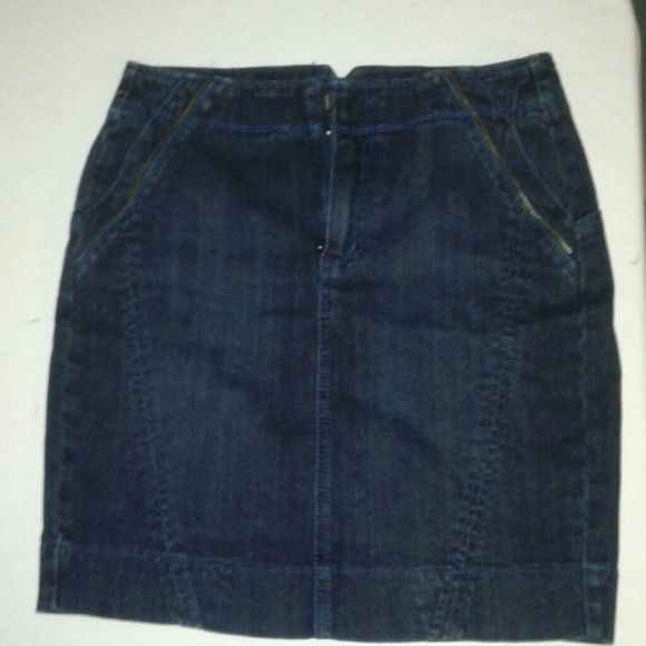 DKNY Dark Denim Stretch Blue Jean Skirt , Sz.6 DKNY stretch denim mini skirt. Zippered  back slit with two functional front pockets. Front zip closure. Wore one time, to big. Excellent condition. DKNY  Skirts Mini