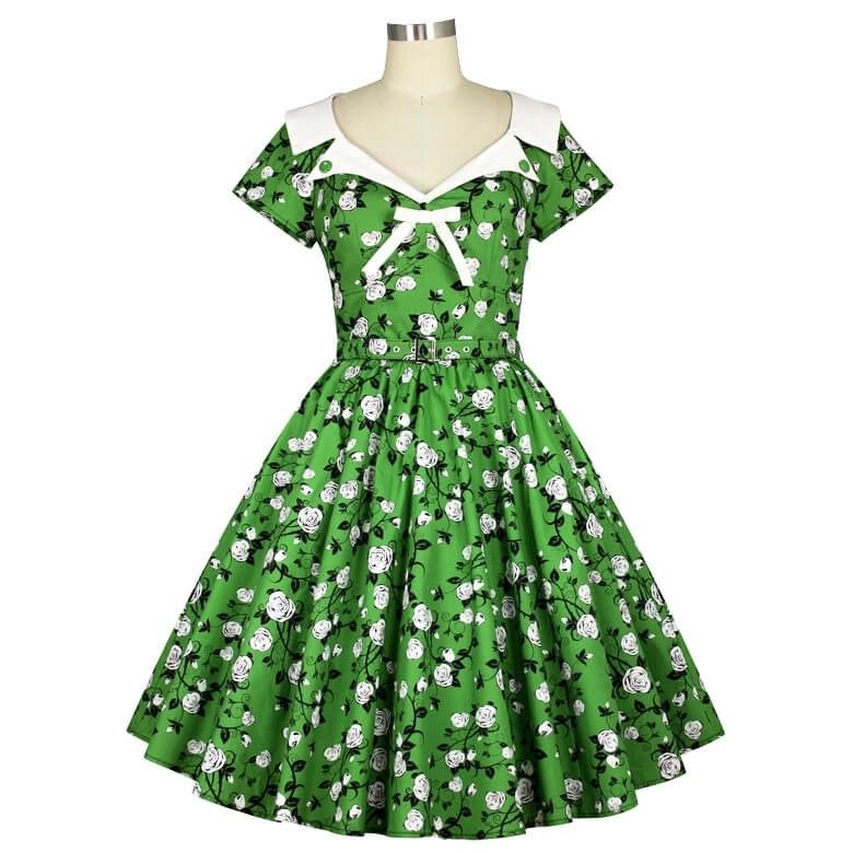 Buy The Chic Star Floral Dixie Rose 50s Dress Online In Australia Visit Atomic Cherry To View Our Huge Rang Vintage Girls Dresses Dresses 50s Fashion Dresses