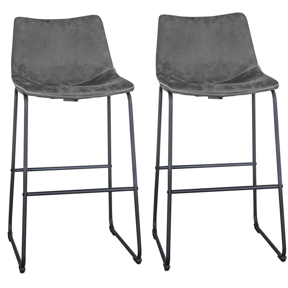 Amerihome Classic 39 In Stone Gray Faux Leather Bar Stool Set Of 2 804140 Leather Bar Stools Bar Stools Grey Bar Stools
