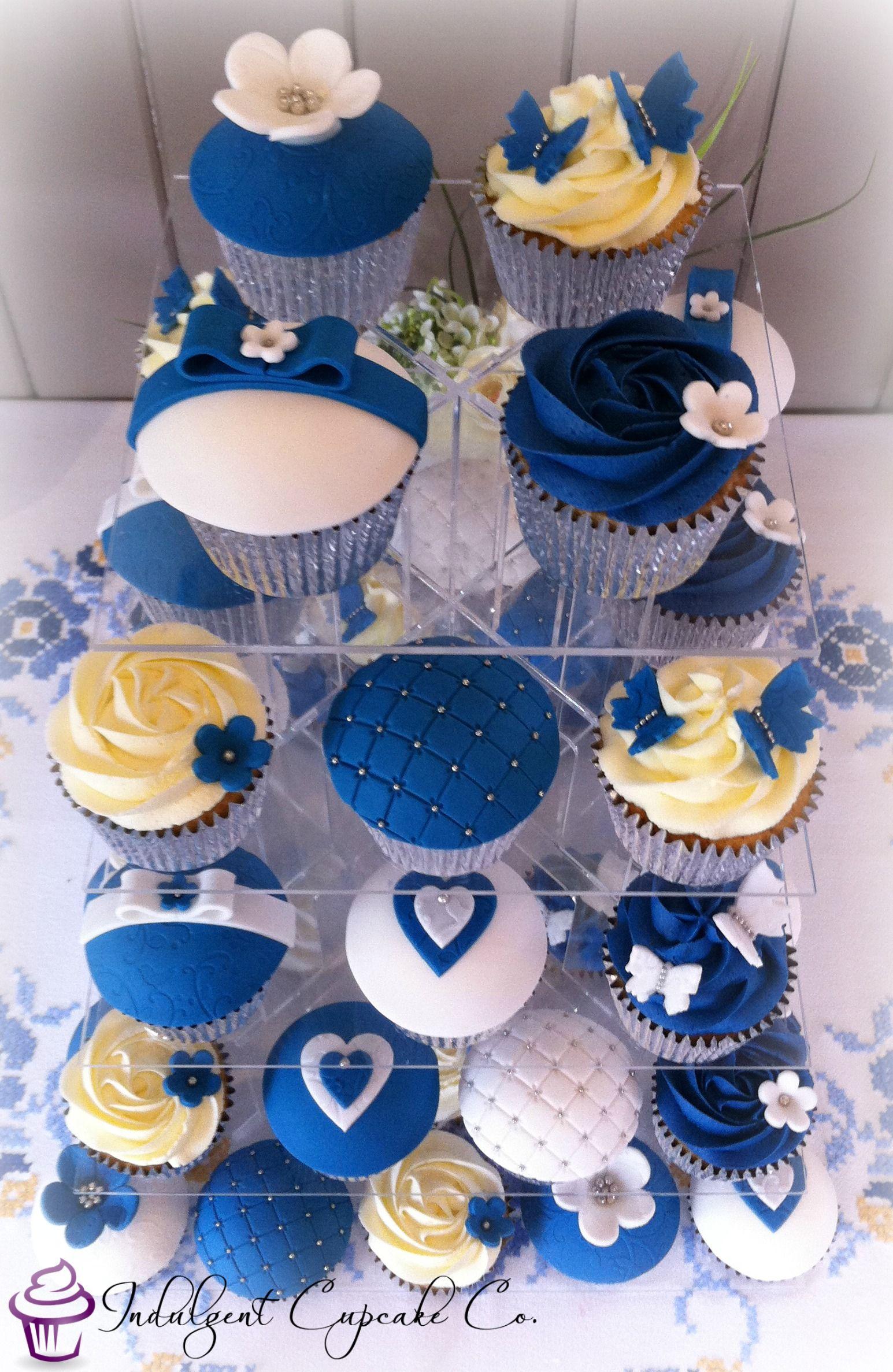 Royal Blue White Amp Silver Wedding Anniversary Cupcakes