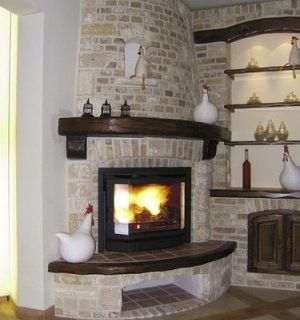 Rounded Corner Stone Fireplace Corner Fireplace Makeover Fireplace Accent Walls Fireplace Design