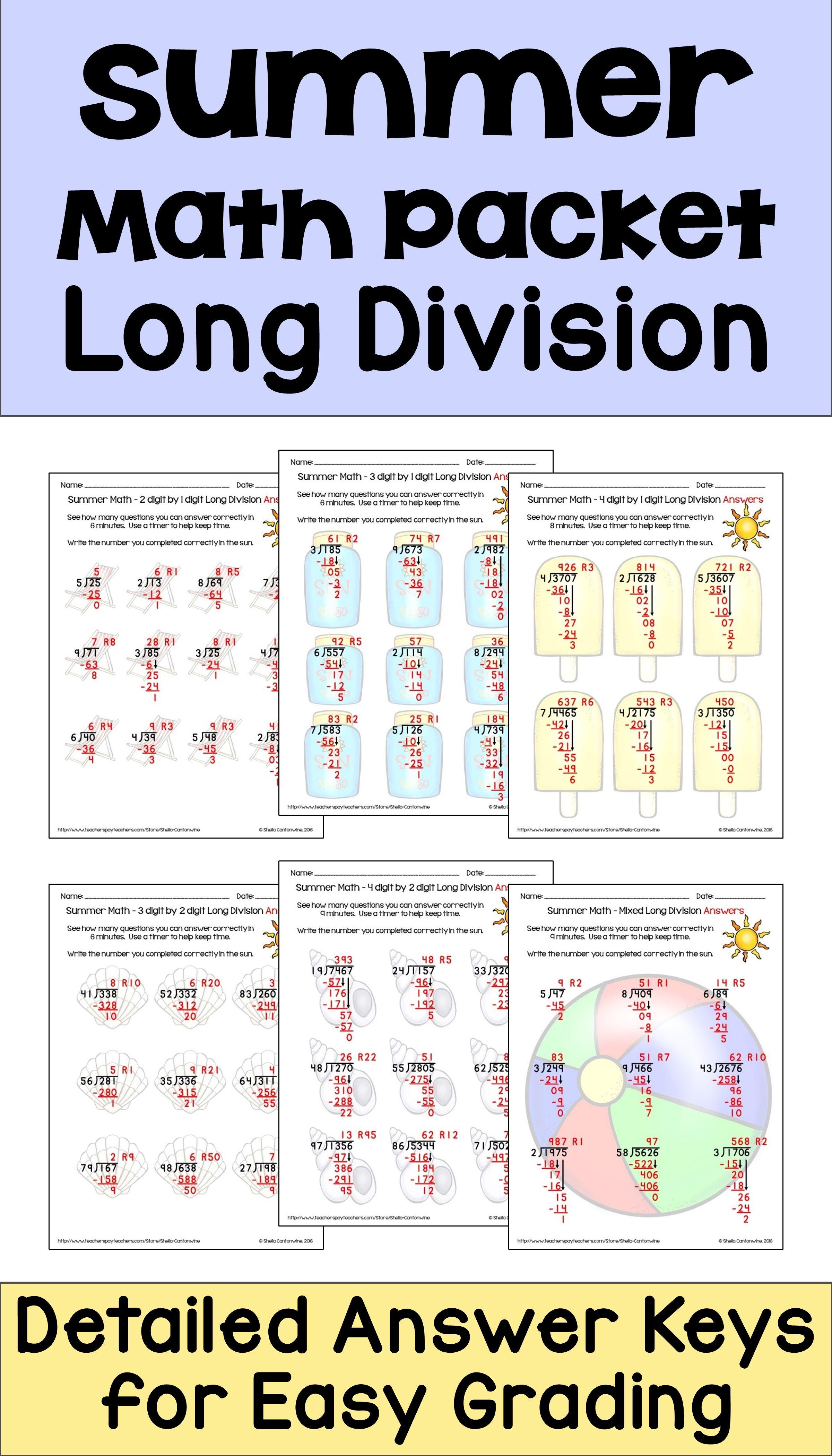 summer math packet long division worksheets differentiated math long division long division. Black Bedroom Furniture Sets. Home Design Ideas