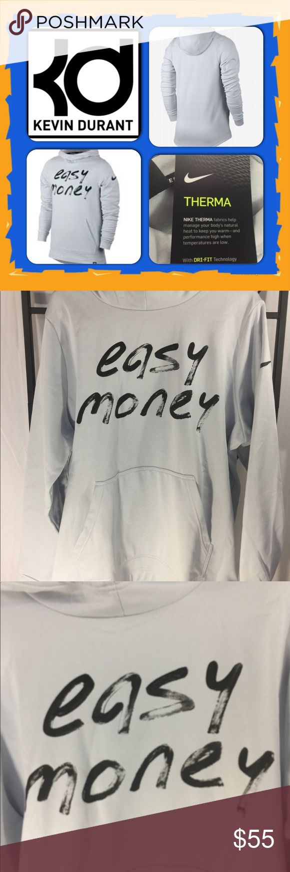 """55e2f776 KD Golden State Warriors Kevin Durant's Hoodie XL KD Golden State Warriors Kevin  Durant's Hoodie XL, """"Easy Money"""" Nike Basketball M Nike Tops Sweatshirts &  ..."""