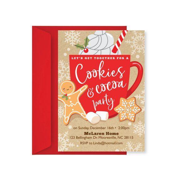 Cookies and Cocoa invitation, Winter Birthday Invitation, Christmas