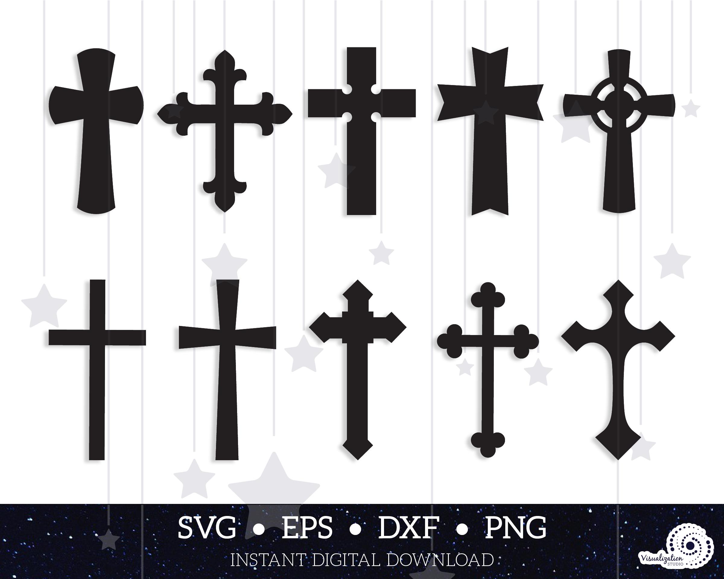 Crosses Vector Set Instant Digital Download Svg Dxf Etsy In 2020 Cross Vector Vector Dxf