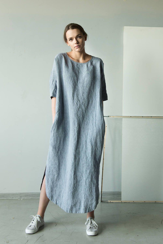 Blue linen tunic dress linen kimono tunic maxi linen dress long