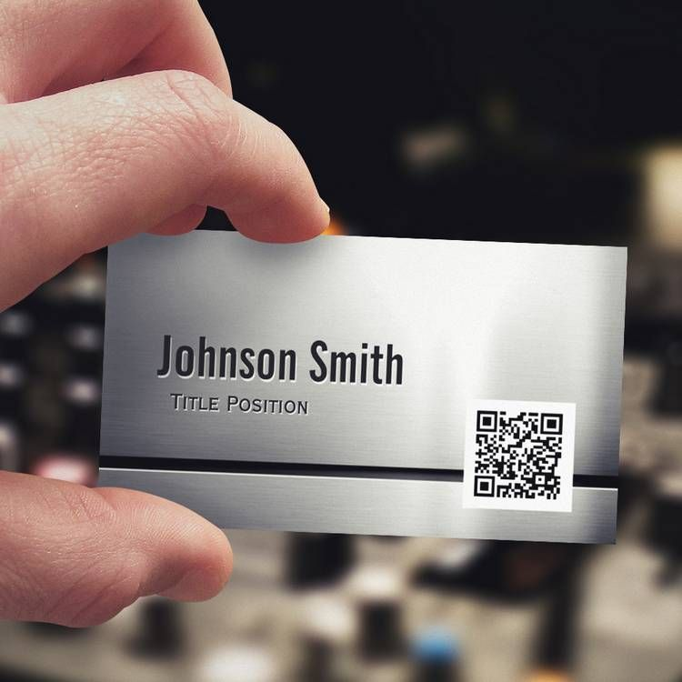 QR Code and Stainless Steel - Brushed Metal Look Business Card ...