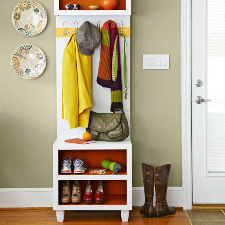 Narrow Coat Rack Bench With Shoe Storage