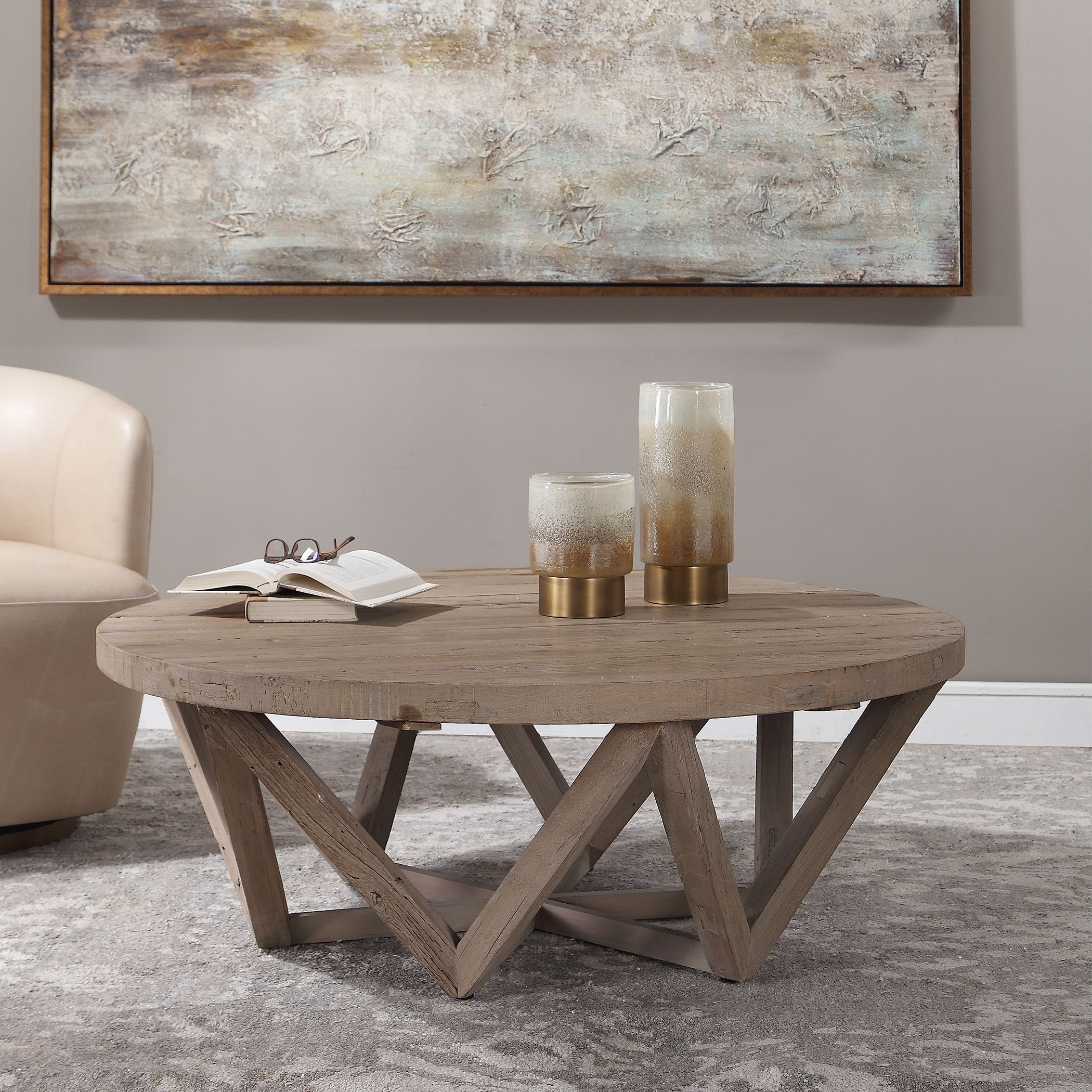 Uttermost Kendry Reclaimed Wood Coffee Table Round Round Wood