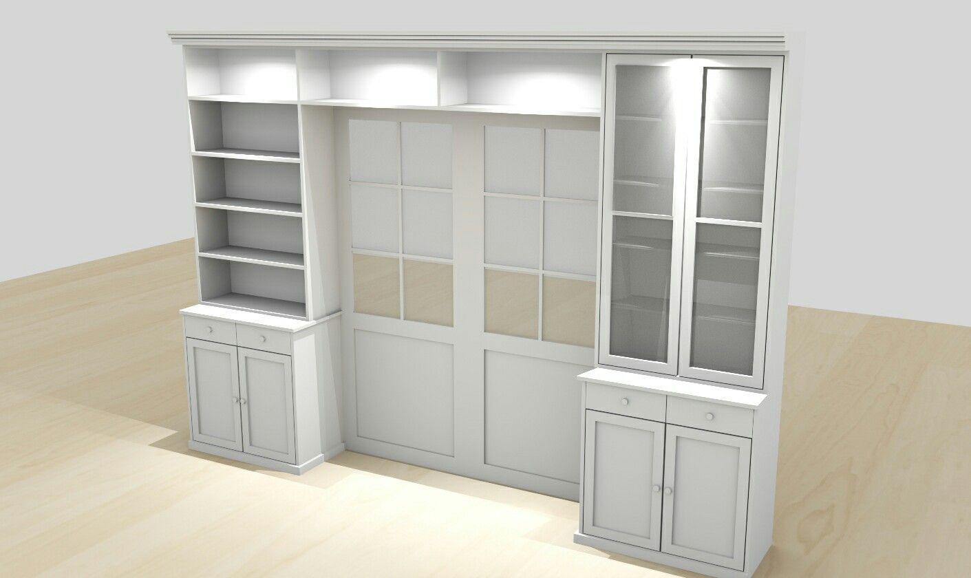 Render en suite deuren ombouw kast op maat interieur boekenkast