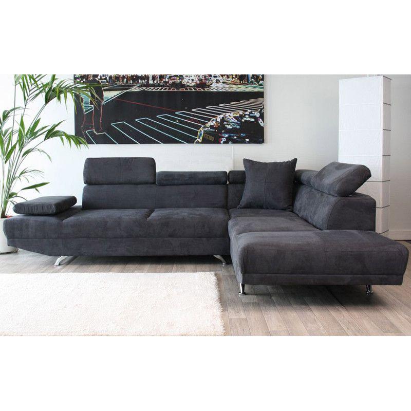 Canapé Dangle à Droite Places En Microfibre Coloris Gris - Canapé 3 places pour decoration d interieur design