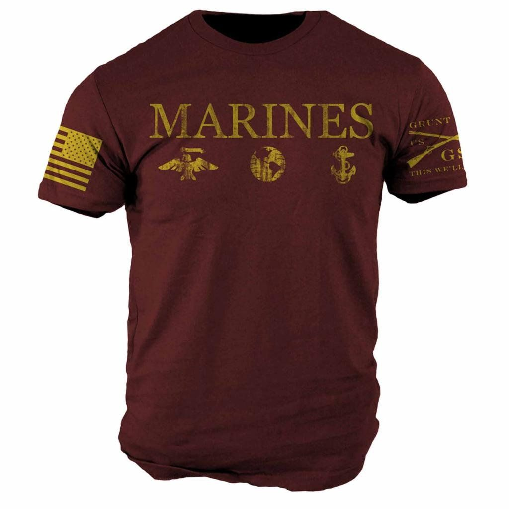 Grunt Style USMC Corps Colors T-Shirt Red